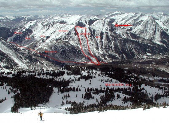 Main avalanche paths on Quarry road.